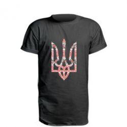 Удлиненная футболка Герб України з національніми візерунками