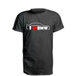 Удлиненная футболка I love BMW