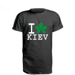 Удлиненная футболка I love Kiev - с листиком - FatLine