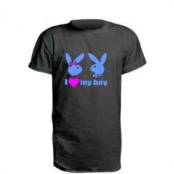 Удлиненная футболка I love my boy - FatLine