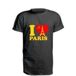 Удлиненная футболка I love Paris