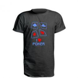 Подовжена футболка I love poker