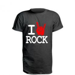 Удлиненная футболка I love rock - FatLine