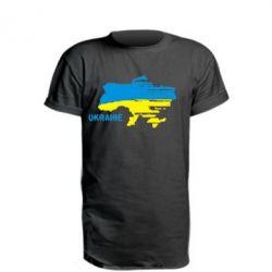 Удлиненная футболка Карта України з написом Ukraine - FatLine