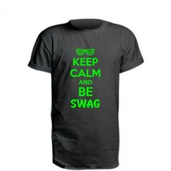 Удлиненная футболка KEEP CALM and BE SWAG - FatLine