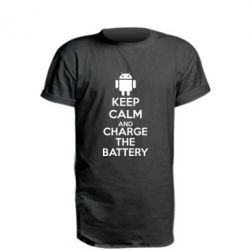 Удлиненная футболка KEEP CALM and CHARGE BATTERY - FatLine