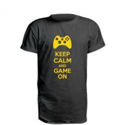 Удлиненная футболка KEEP CALM and GAME ON