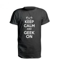 Удлиненная футболка KEEP CALM and GEEK ON - FatLine