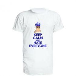 Удлиненная футболка KEEP CALM and HATE EVERYONE - FatLine