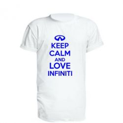 Удлиненная футболка KEEP CALM and LOVE INFINITI - FatLine