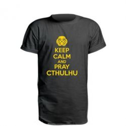Удлиненная футболка KEEP CALM AND PRAY CTHULHU - FatLine