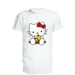 Удлиненная футболка Kitty с букетиком