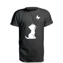 Удлиненная футболка котик и бабочка