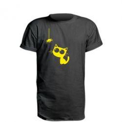 Удлиненная футболка Котик и паук