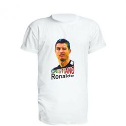 Удлиненная футболка Криштиану Роналду, полигональный портрет - FatLine