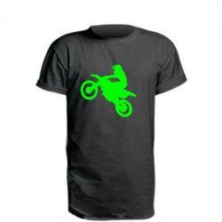 Удлиненная футболка Кроссовый мотоцикл