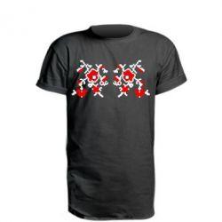 Удлиненная футболка Квітковий орнамент - FatLine
