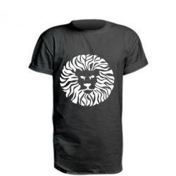 Удлиненная футболка лев - FatLine