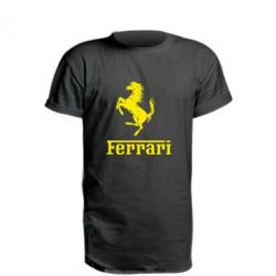 Удлиненная футболка логотип Ferrari