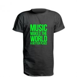 Удлиненная футболка Music makes the world a better place - FatLine
