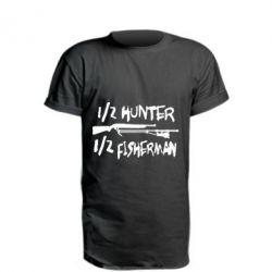 Удлиненная футболка Наполовину охотник, наполовину рыбак