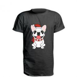 Удлиненная футболка New Year's French Bulldog