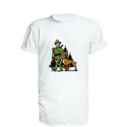 Подовжена футболка Мисливець з собакою