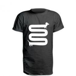 Удлиненная футболка оооочень длинная такса - FatLine
