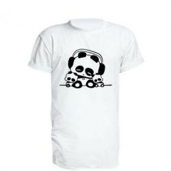 Удлиненная футболка Панда в наушниках