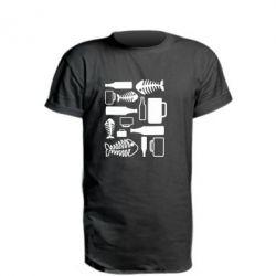 Удлиненная футболка Пиво и рыбка