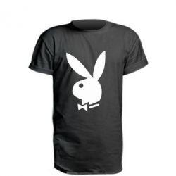 Удлиненная футболка плейбой - FatLine