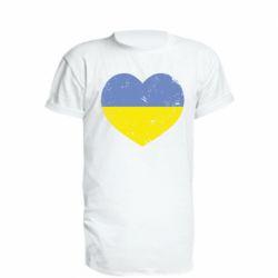 Удлиненная футболка Пошарпане серце