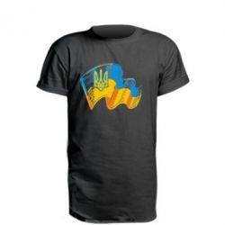 Подовжена футболка Прапор України з гербом
