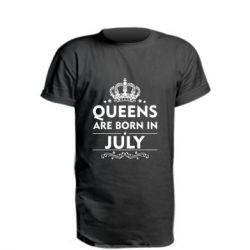Удлиненная футболка Queens are born in July - FatLine