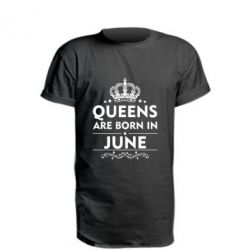 Удлиненная футболка Queens are born in June - FatLine