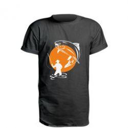 Удлиненная футболка Рыбак на фоне солнца - FatLine
