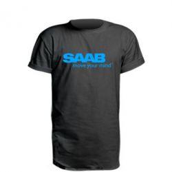 Автомобилистам, Удлиненная футболка SAAB, FatLine  - купить со скидкой