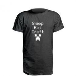Подовжена футболка Sleep,eat, craft