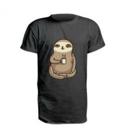 Подовжена футболка Sloth loves coffee