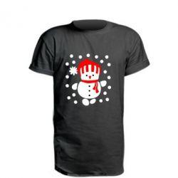 Удлиненная футболка Снеговик в шапке - FatLine