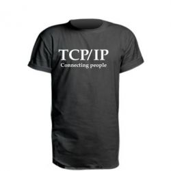 Удлиненная футболка TCP\IP connecting people