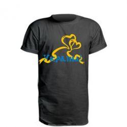 Удлиненная футболка Україна у серці - FatLine