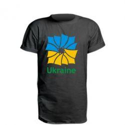 Удлиненная футболка Ukraine квадратний прапор - FatLine