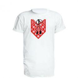 Удлиненная футболка Вишиванка з зав'язкою