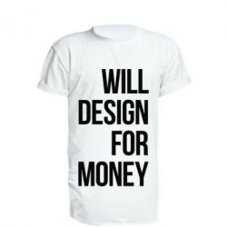 Удлиненная футболка Will design for money - FatLine