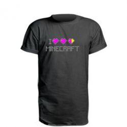 Удлиненная футболка Я люблю Minecraft