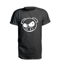 Удлиненная футболка Злая свинка