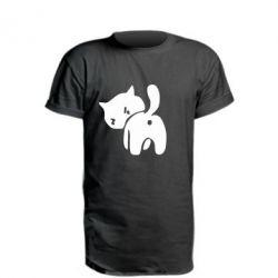 Удлиненная футболка злой котэ