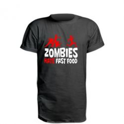 Подовжена футболка Zombies hate fast food