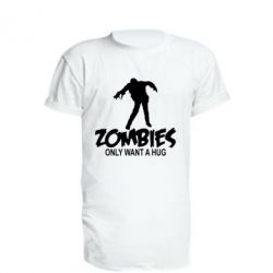 Удлиненная футболка Zombies only want a hug